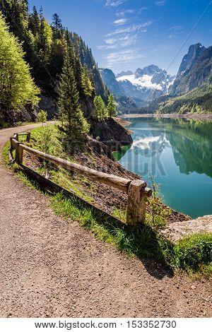 Wonderful Sunrise At Gosausee Lake In Gosau, Alps, Austria