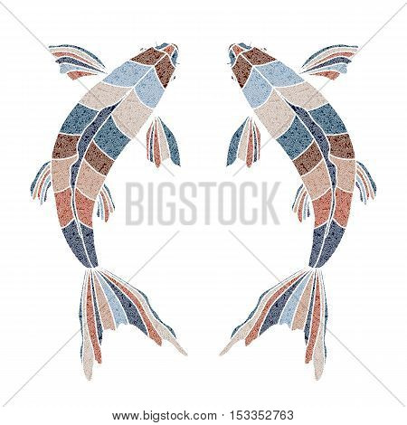 Bright patterned fishes, zodiac Pisces sign for astrological predestination and horoscope
