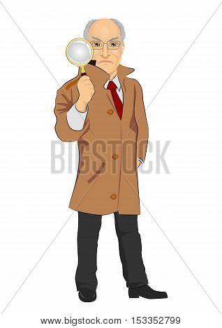 Senior detective exploring through a magnifying glass isolated on white background