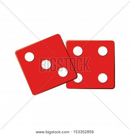 red two dices cube icon over white background. gambling games design. vector illustration