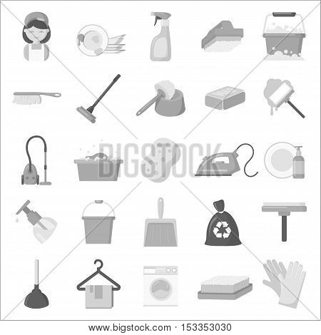Cleaning set icons in monochrome style. Big collection of cleaning vector symbol stock