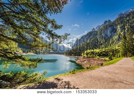 Sunny Dawn At Mountain Lake In Gosau, Alps, Austria