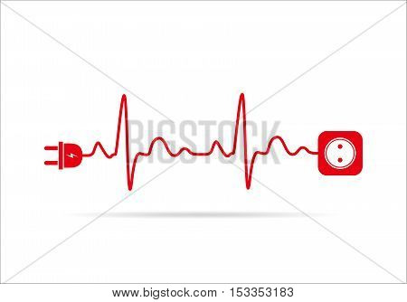 Wire plug and socket flat icon. Vector illustration. Plug socket and cord in the form of heartbeat. Concept of connection and disconnection of the electricity.