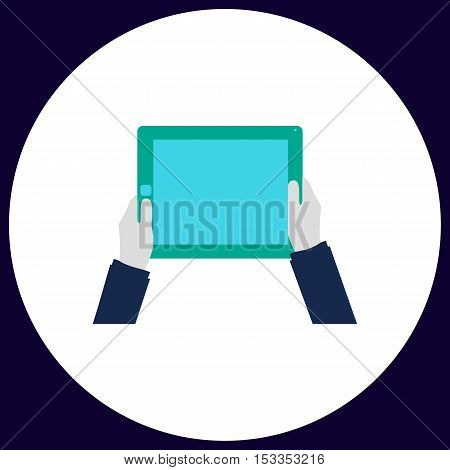 Hold Tablet Simple vector button. Illustration symbol. Color flat icon