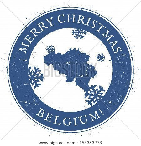 Belgium Map. Vintage Merry Christmas Belgium Stamp. Stylised Rubber Stamp With County Map And Merry