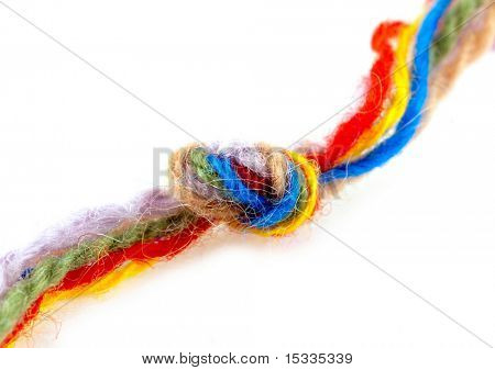 close up of colour woolen yarn with knot