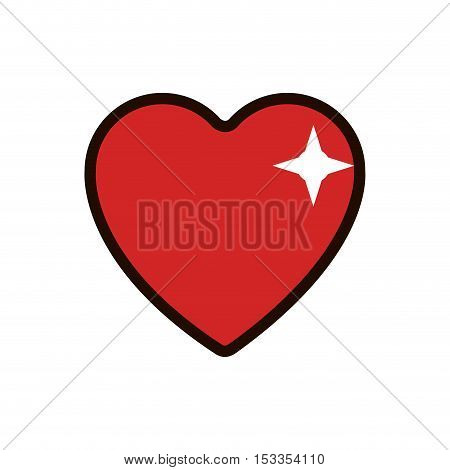 shiny heart icon. Casino and gambling games theme. Colorful design. Vector illustration