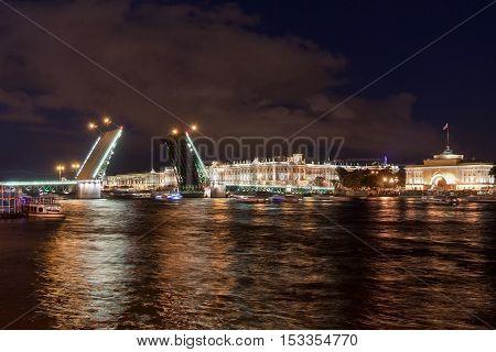 Divorced Bridge at night, St. Petersburg, Russia