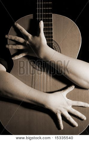 guitar with hands