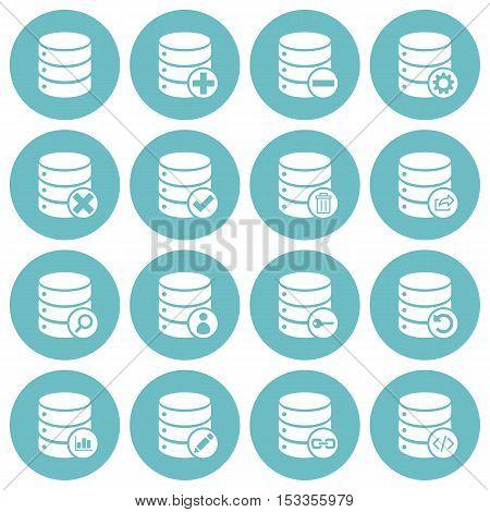 Set of 16 basic database management icons on round glaucous background