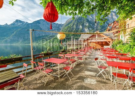 Small Restaurant By A Lake In Hallstatt, Alps, Austria
