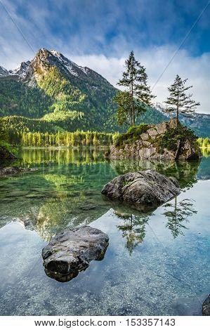 Stunning Dawn At Hintersee Lake In Alps, Germany
