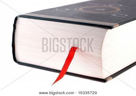 book with red bookmark on white
