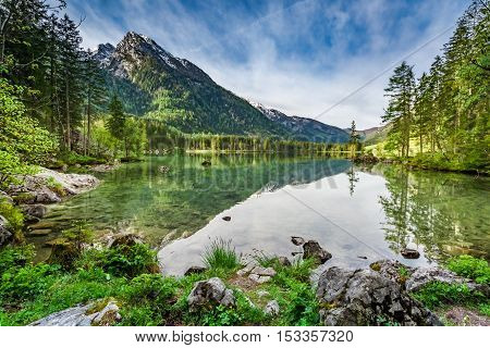 Beautiful Sunrise At Hintersee Lake In Alps, Germany