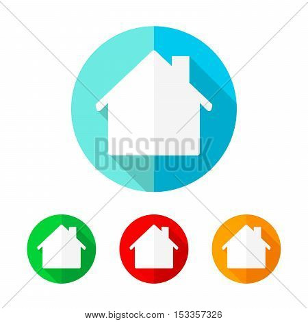 Set of colored houses icons. White house with long shadow. Vector illustration. Sign of house on the round button.
