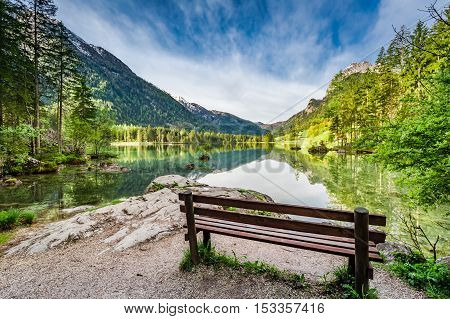 Small Bench At The Hitersee Lake In The Alps