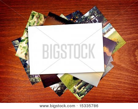 blank photo paper on wood