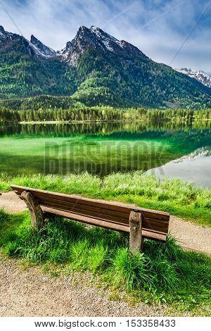 Small Bench At The Hintersee Lake At Sunrise