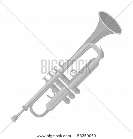 Trumpet icon in monochrome style isolated on white background. Musical instruments symbol vector illustration