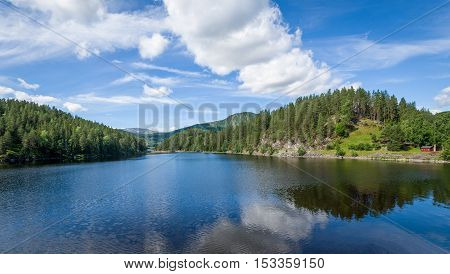 Panoramic landscape of calm lake waters with clouds reflections. Hills and forest. Norway country.