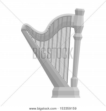 Harp icon in monochrome style isolated on white background. Musical instruments symbol vector illustration