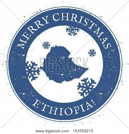 Ethiopia Map. Vintage Merry Christmas Ethiopia Stamp. Stylised Rubber Stamp With County Map And Merr