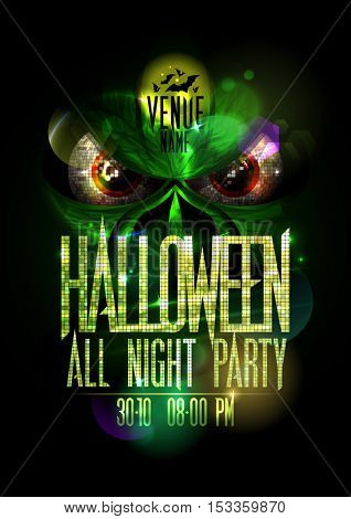 Halloween all night party poster with green evil beast and red eyes, golden mosaic headline and copy space for text