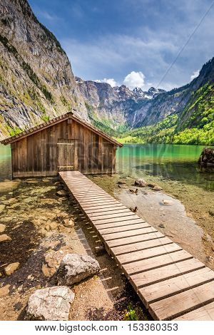 Stunning View For Obersee Lake In Alps, Germany