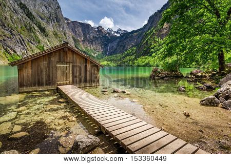 Obersee Lake And A Wooden Hut, Alps, Germany