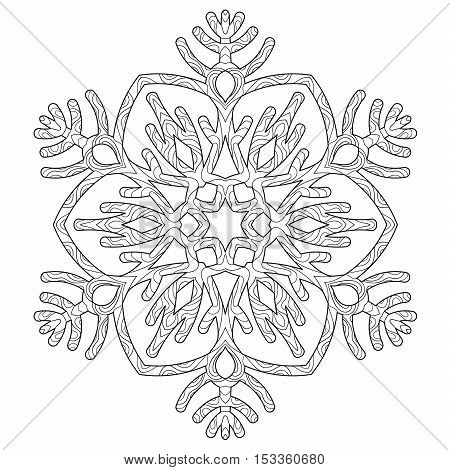 Hand drawn antistress snowflake. Tracery template in zentangle style. Winter coloring pages for adult art therapy. Vector illustration