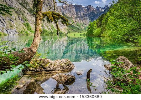 Beautiful View For Obersee Lake In Alps, Germany