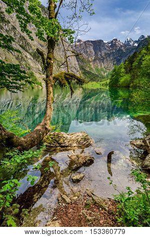 Beautiful Green Mountain Lake In Alps, Germany