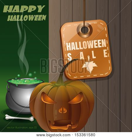 Price tag with inscription - Halloween sale. Jack-o'-lantern on a background of a wooden fence and magic cauldron. Vector illustration