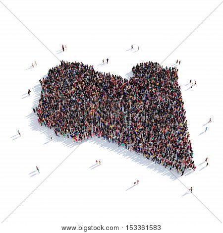 Large and creative group of people gathered together in the form of a map Libya, a map of the world. 3D illustration, isolated against a white background. 3D-rendering.