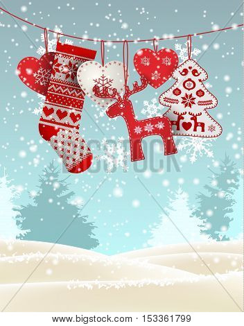 Red knitted christmas stocking with nordic patterns, with some scandinavian traditional decorations hanging in front of simple winter landscape, vector illustration, eps 10 with transparency and gradient meshes