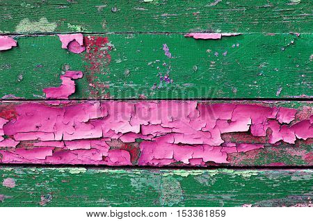 Textured wooden background of old wooden painted multicolor textured planks with peeling paint of green and pink colors- textured surface of old wooden planks