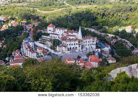 view from top on national museum palace sintra