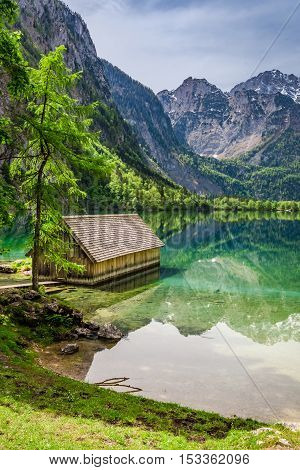 Amazing View Of The Little House On The Lake Obersee In Alps