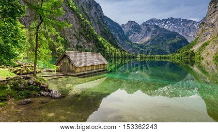 Beautiful View Of A Small Cottage On The Lake Obersee In Alps, Germany