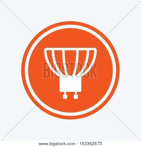 Light bulb icon. Lamp GU10 socket symbol. Led or halogen light sign. Graphic design element. Flat gU10 lamp symbol on the round button. Vector