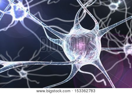3D illustration of a neuron, brain cell, on colorful background