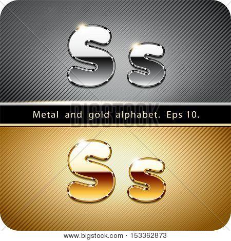 3d Joyful set of chrome metal and gold vector alphabet. The letter