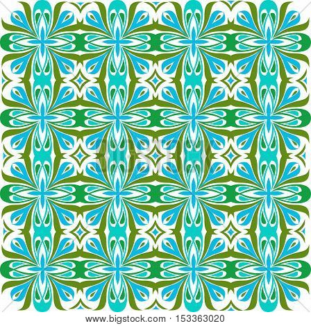 Floral pattern. baroque damask. Seamless vector background. Green and blue color