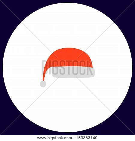 winter cap Simple vector button. Illustration symbol. Color flat icon