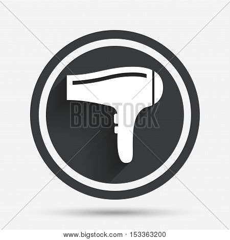 Hairdryer sign icon. Hair drying symbol. Circle flat button with shadow and border. Vector
