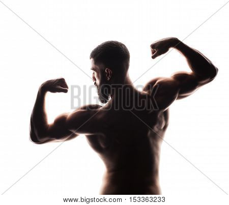 closeup of strong athletic man from back isolated on white background