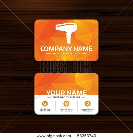 Business or visiting card template. Hairdryer sign icon. Hair drying symbol. Phone, globe and pointer icons. Vector