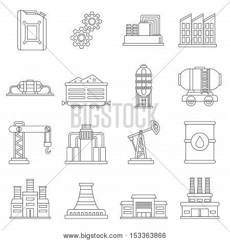 Industry icons set. Outline illustration of 16 industry vector icons for web