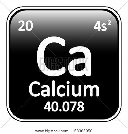 Periodic table element calcium icon on white background. Vector illustration.