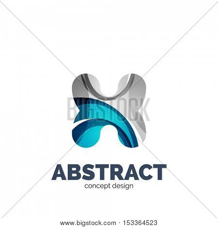 set of abstract letter business logo icons, geometric wavy flowing style
